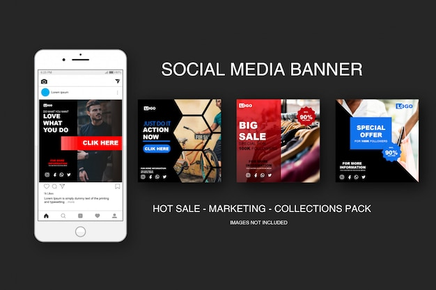 Banner sale instagram collections pack Premium Vector
