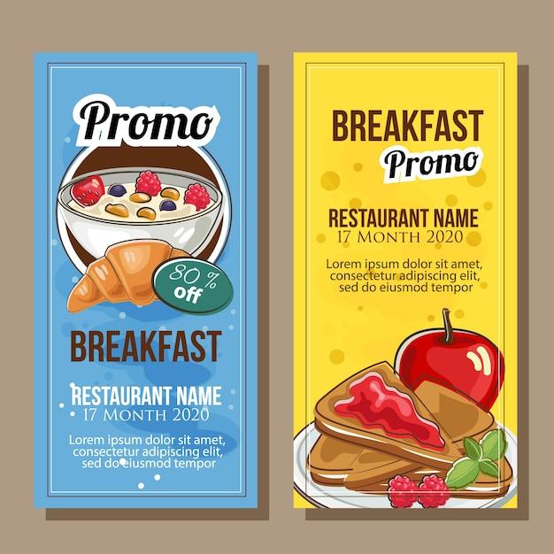 手描きのスタイルで朝食のテーマのバナーの販売 Premiumベクター