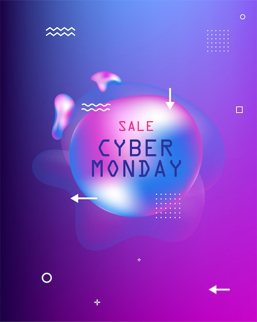 Banner of sales. black friday, cyber monday and autumn sale. liquid  colorful shapes. abstract modern graphic elements on the dark .  . Premium Vector