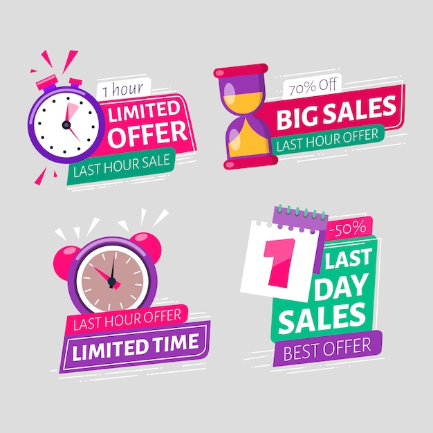 Banner sales countdown collection Free Vector