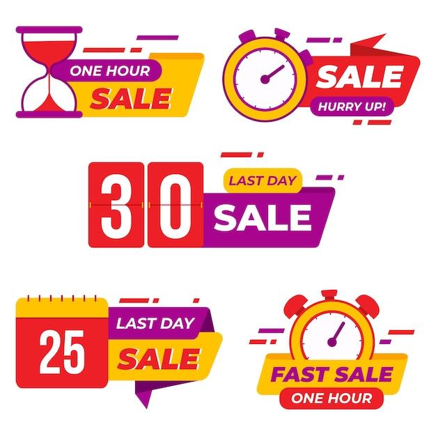 Banner sales countdown set Free Vector