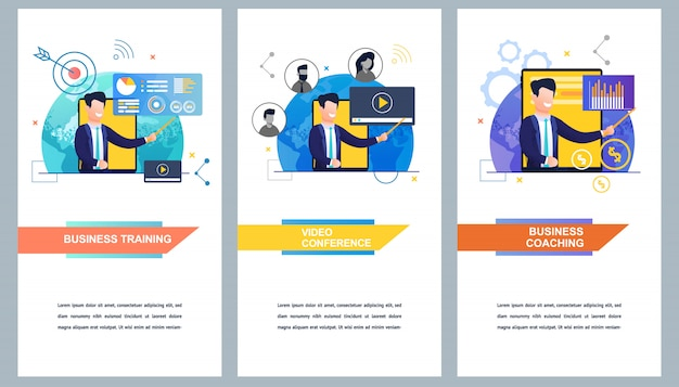Banner set business training and video conference and business coaching Premium Vector