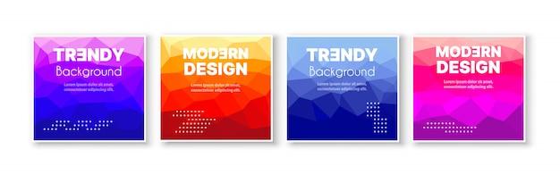 Баннер набор сбора флаер абстрактный треугольный Premium векторы