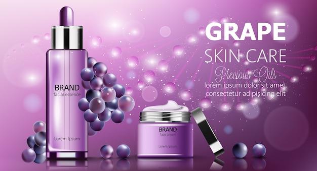 Set di banner di cosmetici per la cura della pelle dell'uva Vettore gratuito