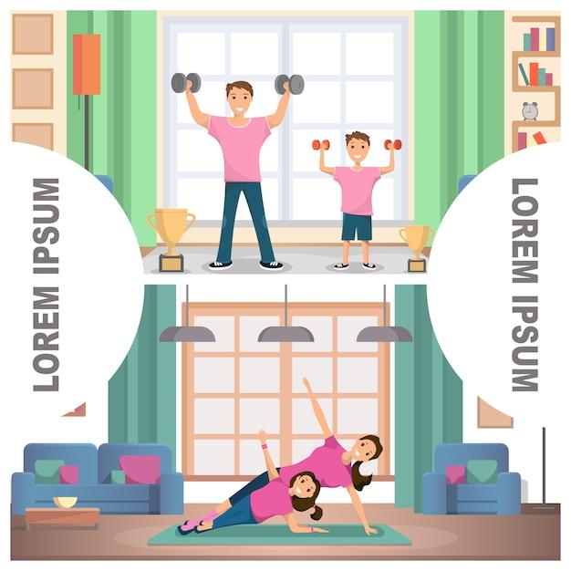 Banner set image fitness family training home Premium Vector