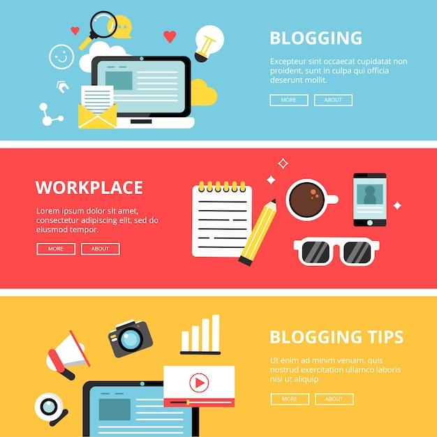 ブログ、ソーシャルメディア、著作権、広告のバナーセット Premiumベクター