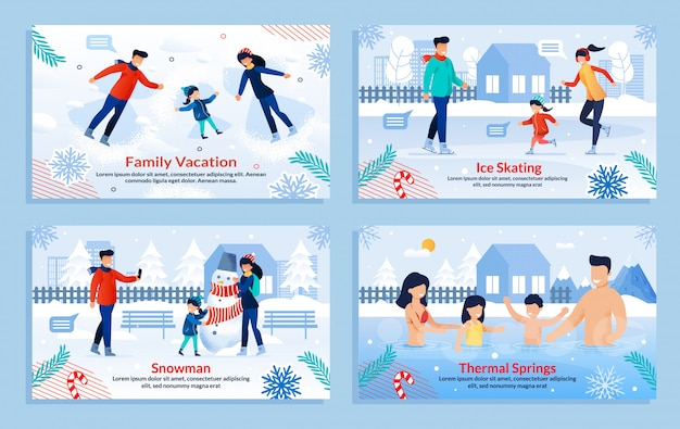 Banner set with family perform outdoor activities Premium Vector