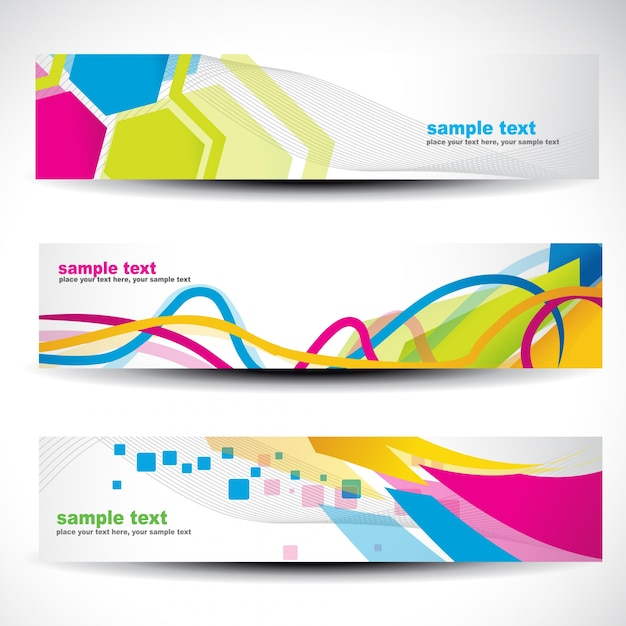 banner set with modern colorful shapes vector free download