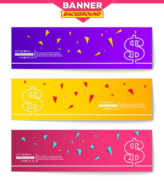 Banner  set with triangles Premium Vector