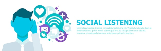 Banner social listening. the man leaned his hand to his ear, and listens to icons. Free Vector