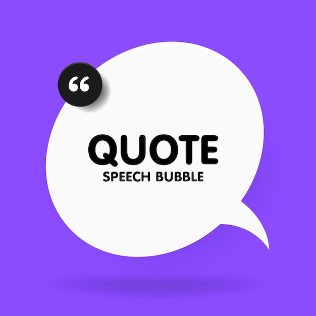 Banner, speech bubble, poster and sticker concept with sample text. white bubble message on bright violet background for banner, poster.  illustration Premium Vector