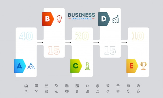Banner style infographic layout with five different steps template Premium Vector