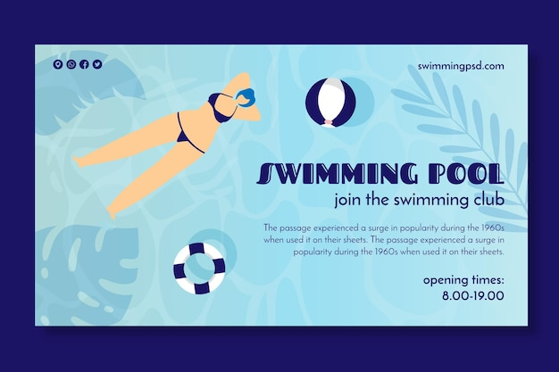 Banner for swimming club Free Vector