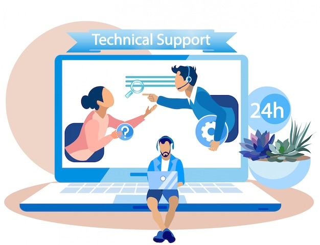 Banner technical support for call center employees Premium Vector