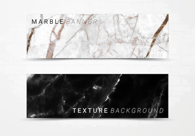 Banner template of black and white marble texture background. Premium Vector