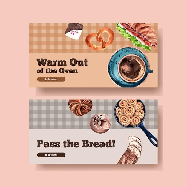 Баннер шаблон дизайна с пекарней акварель иллюстрации Бесплатные векторы