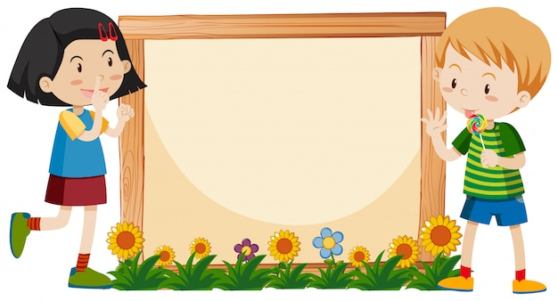 Banner template design with boy and girl in garden Free Vector