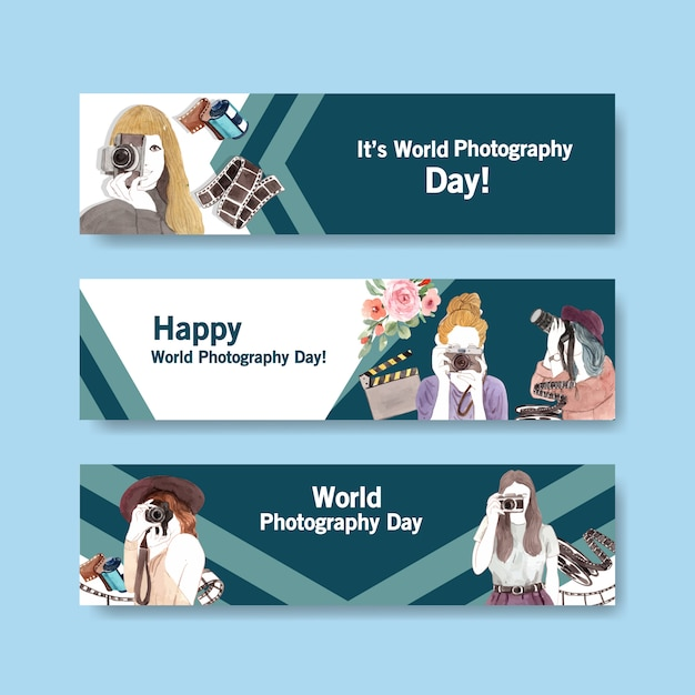 Banner template design with world photography day for advertise and brochure Free Vector
