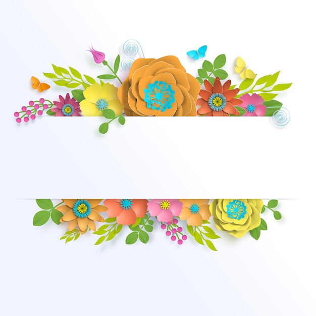 Banner template floral paper art with butterfly Premium Vector