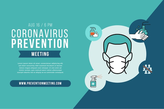 Шаблон баннера для профилактики коронавируса Premium векторы