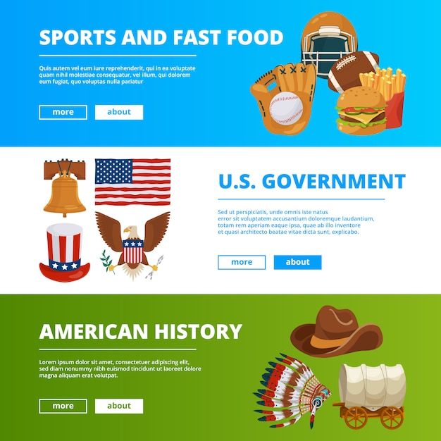 Banner template set with symbols of american culture Premium Vector