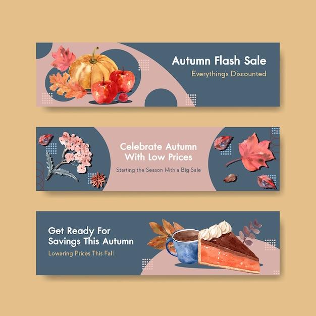 Modello dell'insegna con progettazione di massima quotidiana di autunno per l'acquerello di promozione e di vendita Vettore gratuito