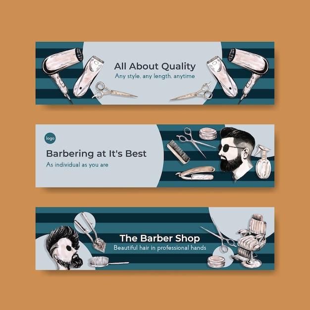 Modello di banner con barbiere concept design per la pubblicità. Vettore gratuito