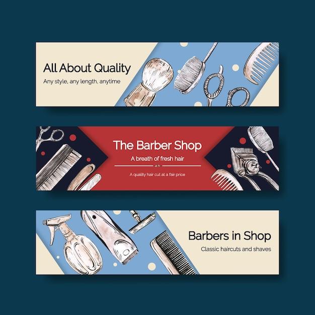広告のための理髪店のコンセプトデザインのバナーテンプレート。 無料ベクター