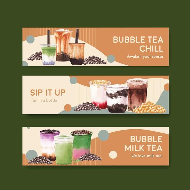 Шаблон баннера с концепцией пузырькового чая с молоком Бесплатные векторы