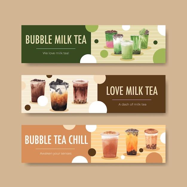 Шаблон баннера с пузырьковым чаем с молоком Бесплатные векторы
