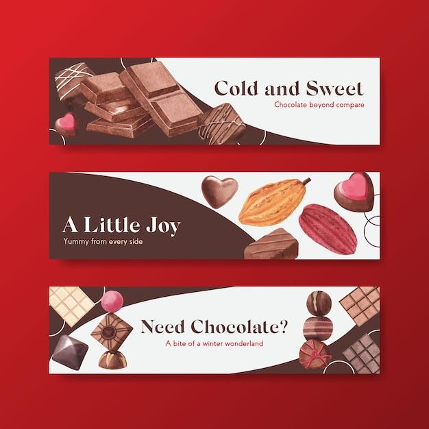 Шаблон баннера с шоколадной зимой Бесплатные векторы