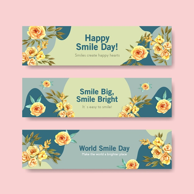 Banner template with flowers bouquet design for world smile day concept to advertise and marketing watercolor vector illustraion. Free Vector