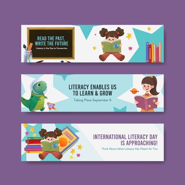 マーケティングのための国際識字デーのコンセプトデザインとリーフレット水彩ベクトルのバナーテンプレート。 無料ベクター