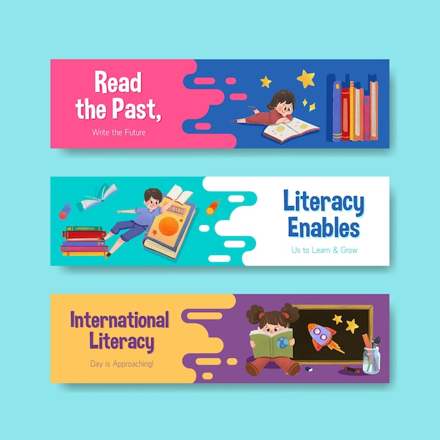 Banner template with international literacy day concept design for marketing and leaflet watercolor. Free Vector