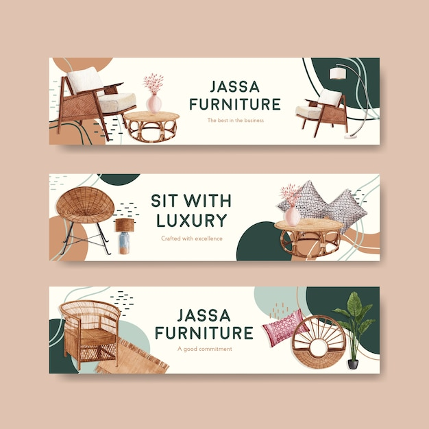 Banner template with jassa furniture concept design for advertise and marketing watercolor vector illustration Free Vector
