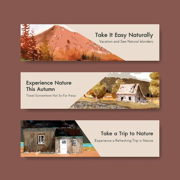 Modello dell'insegna con paesaggio nella progettazione di autunno Vettore gratuito