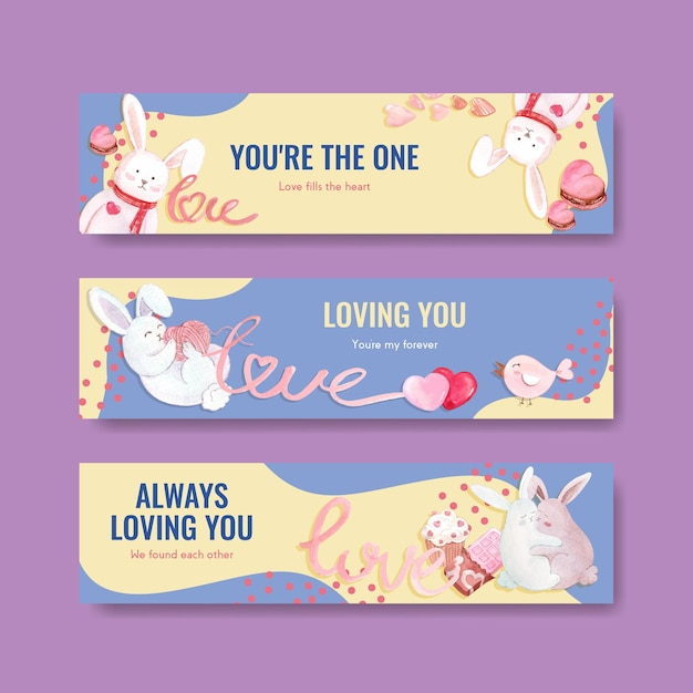 Banner template with loving you concept design for advertise and marketing watercolor illustration Free Vector