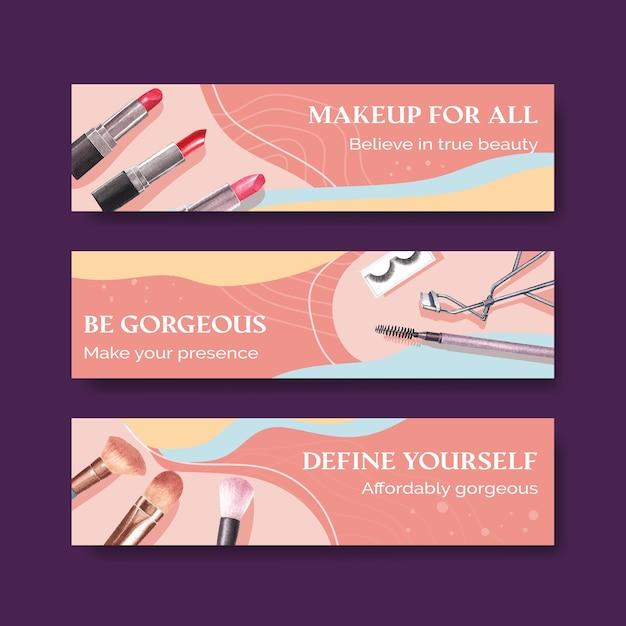 Шаблон баннера с концептуальным дизайном макияжа для рекламы и маркетинга watercoclor Бесплатные векторы