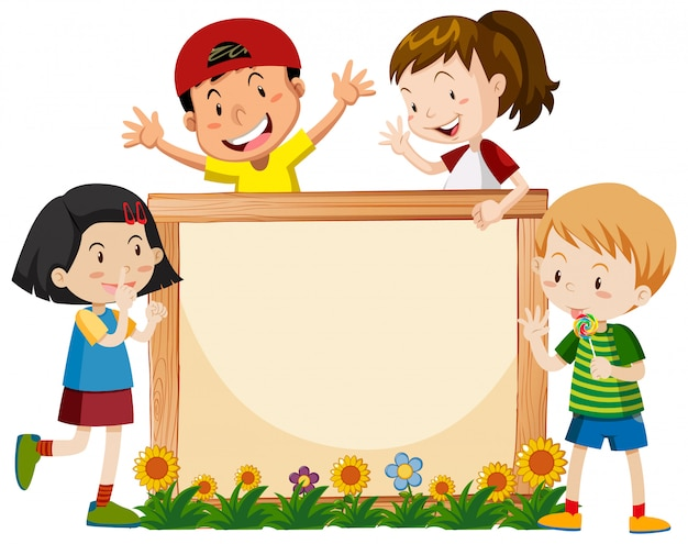 Banner template with many kids and flowers Free Vector