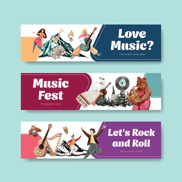 Banner template with music festival concept design for advertise and marketing watercolor vector illustration Free Vector