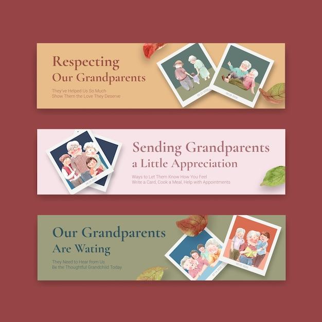 Modello di banner con concept design nazionale dei nonni per brochure e volantini acquerello. Vettore gratuito
