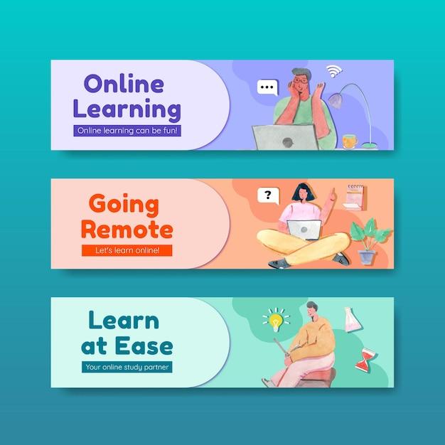 水彩イラストを宣伝およびマーケティングするためのオンライン学習コンセプトデザインのバナーテンプレート 無料ベクター