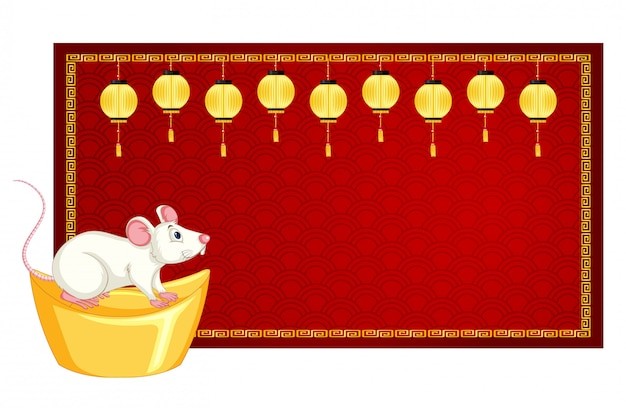 Banner template with rat on gold Free Vector