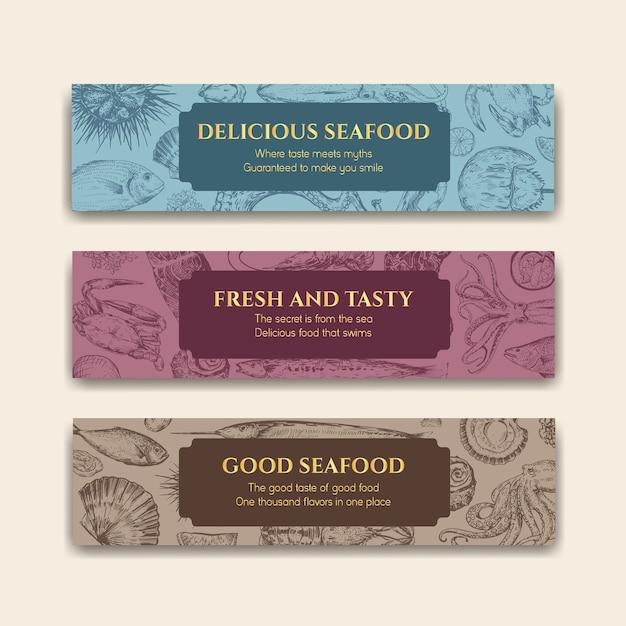 Modello di banner con concept design di frutti di mare per pubblicità e illustrazione di brochure Vettore gratuito