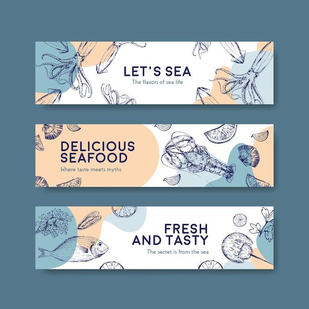 Шаблон баннера с концептуальным дизайном морепродуктов для рекламы и иллюстрации брошюры Бесплатные векторы