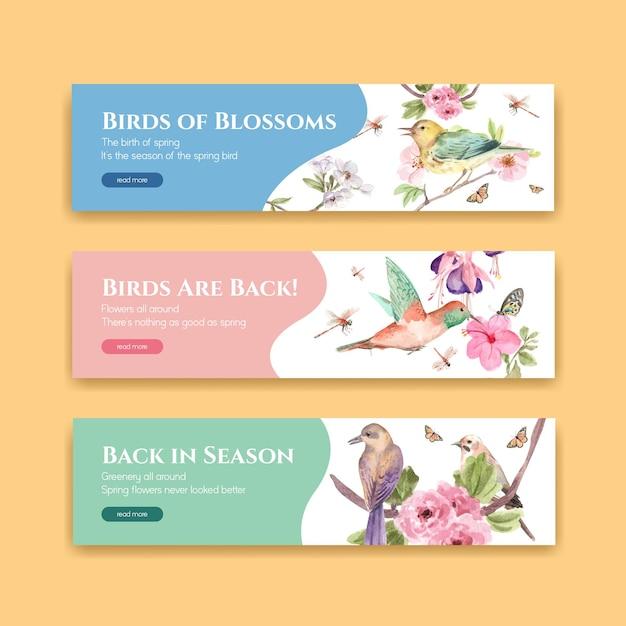 광고 및 마케팅 수채화 그림을위한 봄, 새 컨셉 디자인 배너 템플릿 무료 벡터