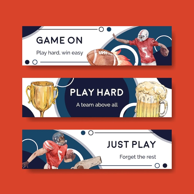 Banner template with super bowl sport concept design for advertise and marketing watercolor vector illustration. Free Vector