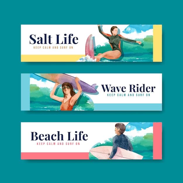 ビーチでサーフボードを持つバナーテンプレート 無料ベクター