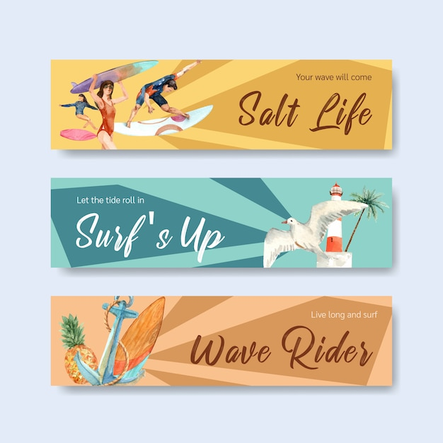 Banner template with surfboards at beach Free Vector