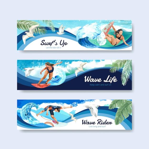 Modello di banner con tavole da surf in spiaggia Vettore gratuito